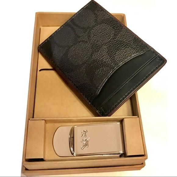 0fb8694b NWT: Coach CC Men's Card Wallet Money Clip Set Boutique